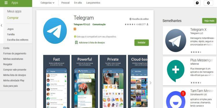 telegram conta